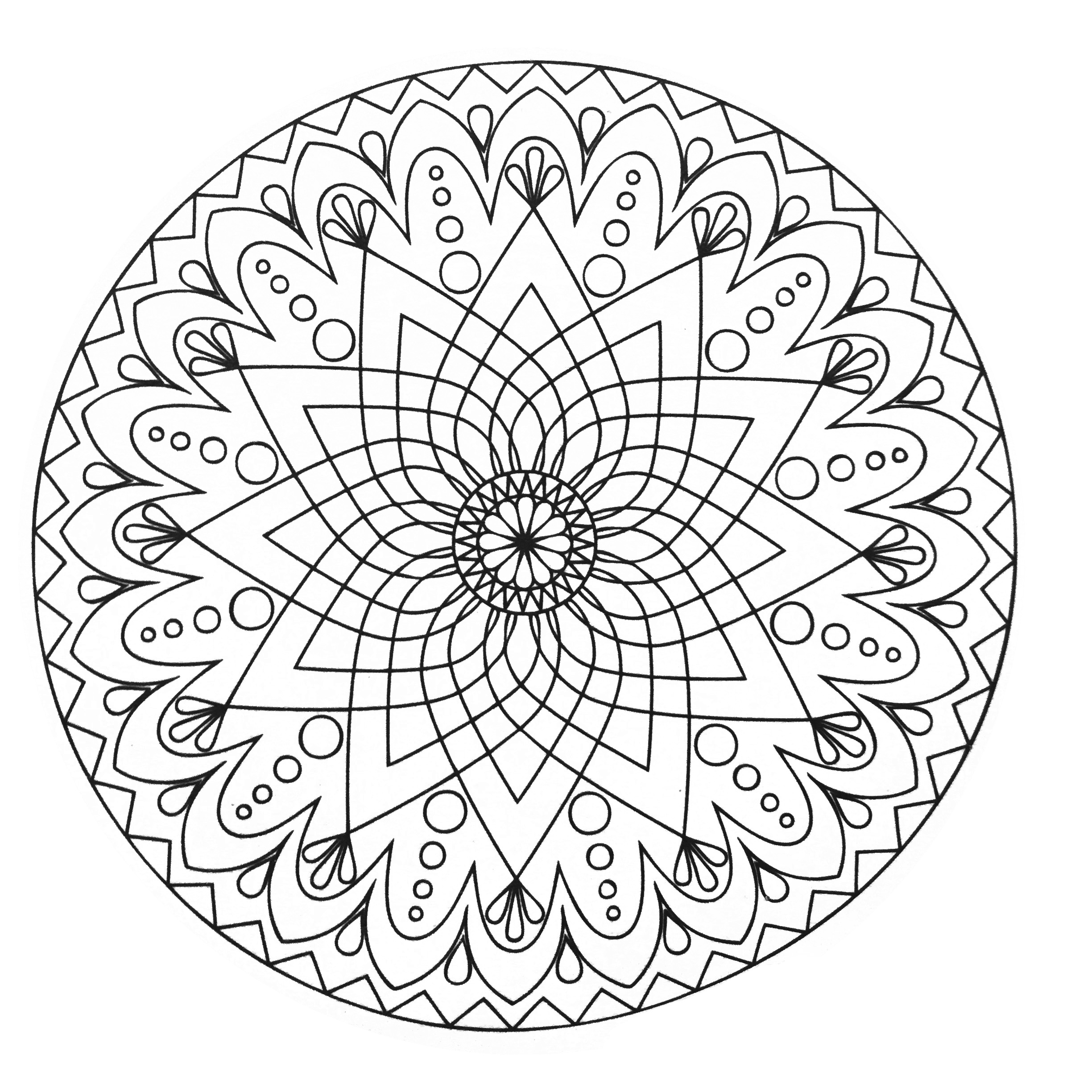 Mandalas coloring pages for adults coloring mandala for Simple mandala coloring page