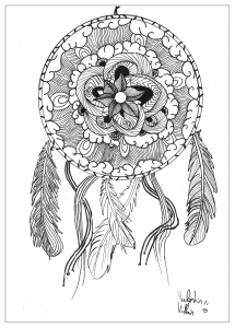 coloring-page-adult-draw-Mandala-dream-catcher-by-valentin free to print