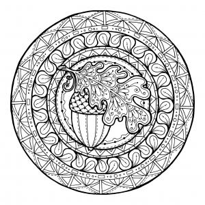 coloring-page-mandala-Acorn-and-Oak Leaves-mandala-to-by-juliasnegireva free to print