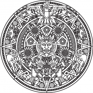 coloring-page-mandala-Inca-or-Maya-God-to-color-by-Bigredlynx free to print