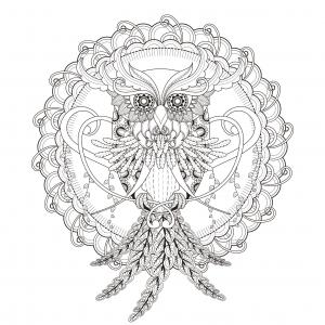 coloring-page-mandala-Owl-by-Kchung free to print