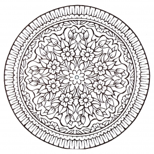 coloring-page-mandala-vintage-style-flowers free to print