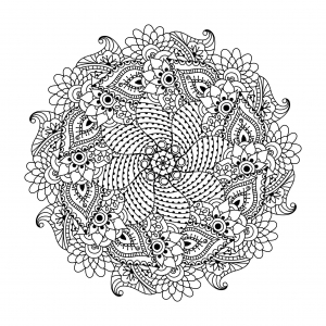 coloring-page-mandala-with-flowers-and-leaves-by-Ceramaama free to print