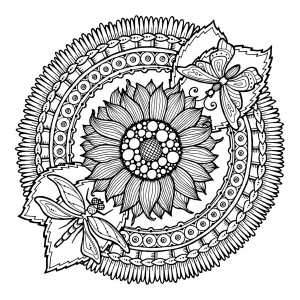 coloring-pages-adults-mandala-dragonfly-and-flowers-by-juliasnegireva free to print