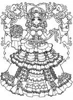 coloring-adult-back-to-childhood-manga-girl-dress free to print
