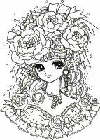 coloring-adult-manga-flowers-girl free to print