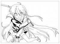 coloring-manga-saber-warrior-girl-by-krissy free to print