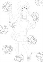 coloring-page-adult-sweet-donuts-girl free to print