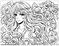 coloring-page-manga-girl-with-flowers-by-flyingpeachbun free to print