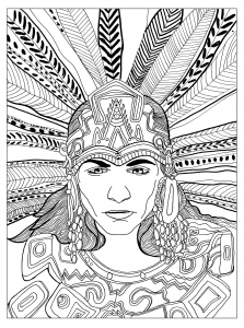 coloring-adult-chief-mayan-by-olivier free to print