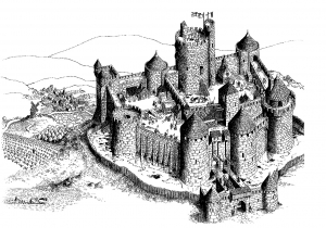 coloring-adult-fortified-castle free to print