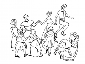 coloring-adult-middle-age-danse free to print
