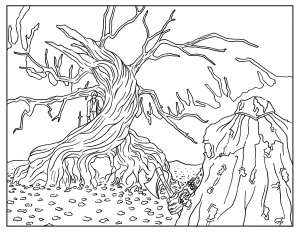 Sleepy-Hollow-Adult-Coloring-Book-Page free to print