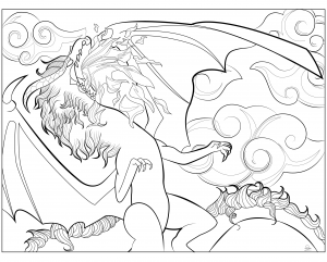 Coloring-page-adult-Dragon-by-Juline free to print