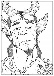 coloring-page-adult-draw-satyre-by-valentin free to print