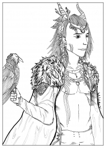 coloring-page-adult-Coloring-Folconerr-elven-by-valentin free to print