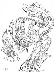 coloring-page-adult-Monster-by-Juline free to print