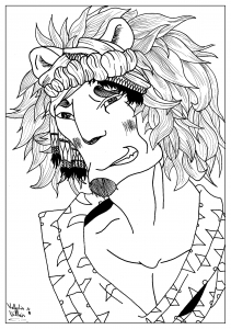 coloring-page-adult-draw-Man-lion-by-valentin free to print
