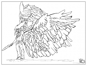 coloring-page-adult-draw-Man wings-by-valentin free to print