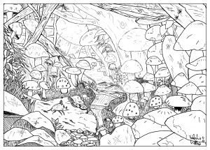 coloring-page-adult-draw-landscape-feather-mushroom-by-valentin free to print