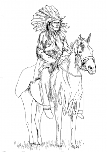 coloring-adult-native-american-on-his-horse free to print