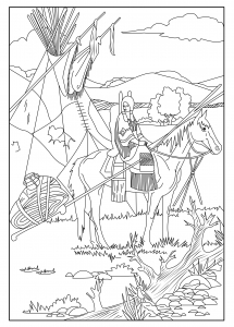 coloring-page-adults-native-american-celine free to print