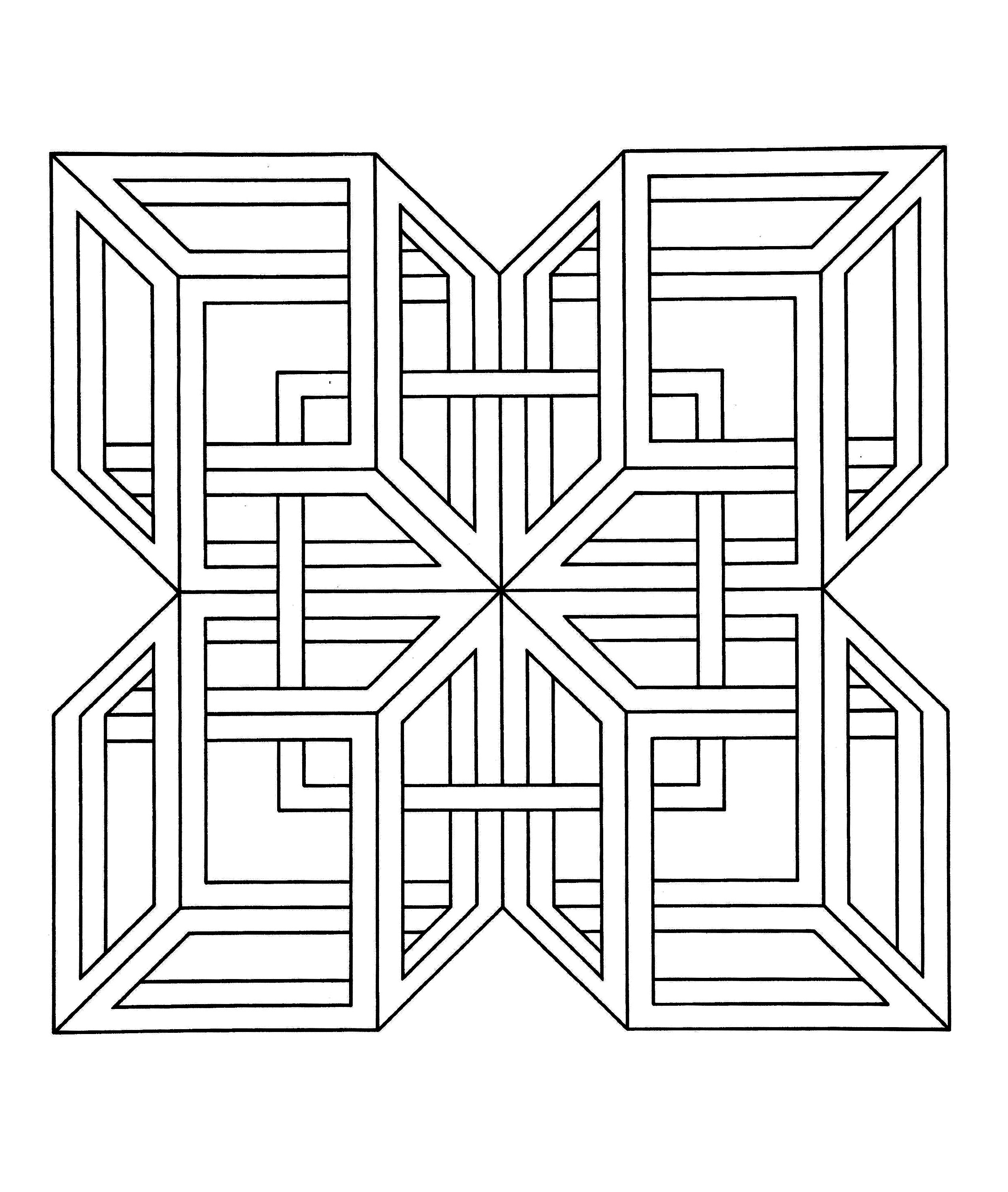 Op art coloring pages for adults coloring op art jean for Illusion coloring pages