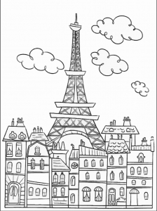 coloring-adult-paris-buildings-and-eiffel-tower free to print