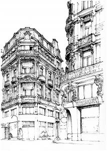 coloring-adult-paris-street free to print