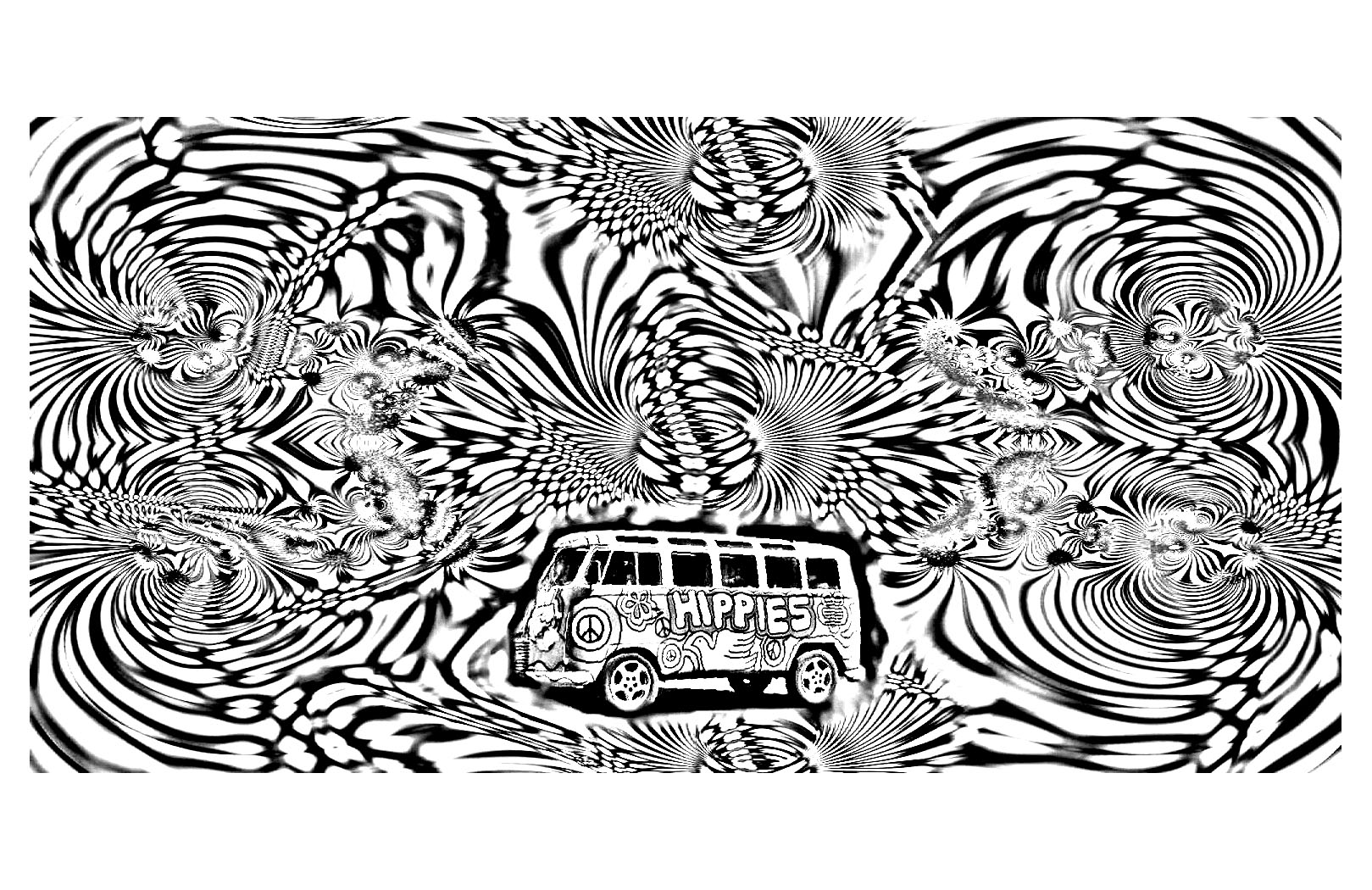 Psychedelic coloring pages for adults coloring for Printable psychedelic coloring pages