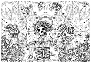 coloring-page-adult-grateful-dead-art-by-valentin free to print