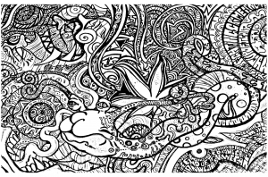 instant download coloring page hand drawn zentangle inspired psychedelic a smile mandala hippie abstract instant download coloring - Psychedelic Hippie Coloring Pages