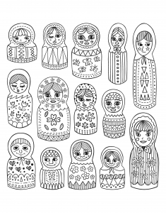 coloring-adult-cute-russian-dolls free to print