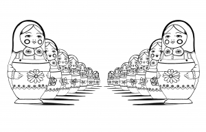 coloring-page-adult-russian-dolls-perspective-double free to print