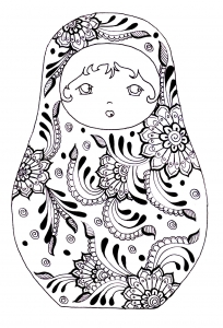 coloring-russian-dolls-3 free to print