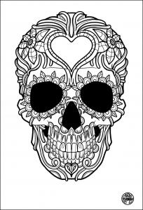 coloring-adult-tatouage-simple-skull-tattoo free to print