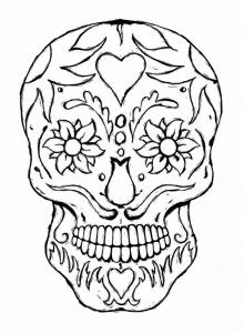 coloring-adulte-tatoo-skull-eyes-flowers free to print
