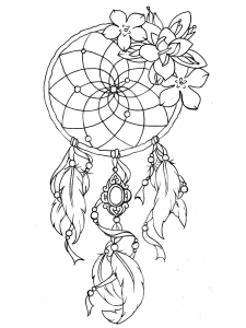 coloring-dreamcatcher-tattoo-designs free to print