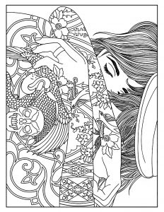 coloring-woman-tattoos free to print