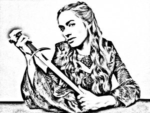coloring-adult-game-of-throne-cersei-lannister free to print