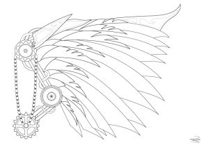 Coloring-page-adult-Steampunk-wing-by-Juline free to print