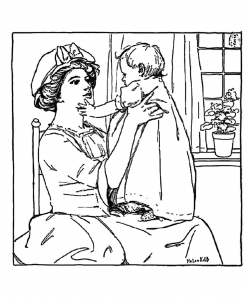 coloring-adult-vintage-drawing-mother-and-girl free to print