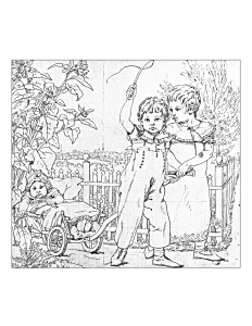coloring-adult-vntage-drawing-with-children free to print