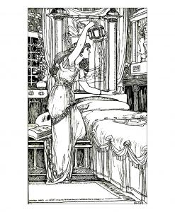 coloring-drawing-vintage-woman-lamp free to print