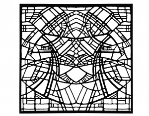 coloring-adult-stained-glass-belgique-exposition-rene-mels-1986-version-square free to print