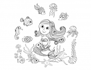 coloring-adult-mermaid-and-fishes-by-amalga free to print