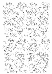 coloring-adult-numerous-fish free to print
