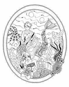 coloring-page-little-mermaid-garden-by-azyrielle free to print