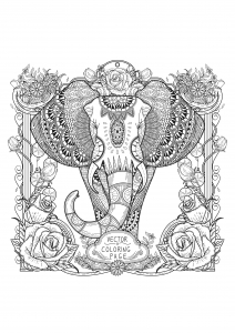 cooring-page-adults-zentangle-elephant free to print